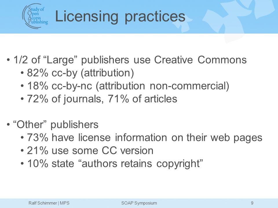 Licensing practices 1/2 of Large publishers use Creative Commons 82% cc-by (attribution) 18% cc-by-nc (attribution non-commercial) 72% of journals, 71% of articles Other publishers 73% have license information on their web pages 21% use some CC version 10% state authors retains copyright 9Ralf Schimmer | MPSSOAP Symposium