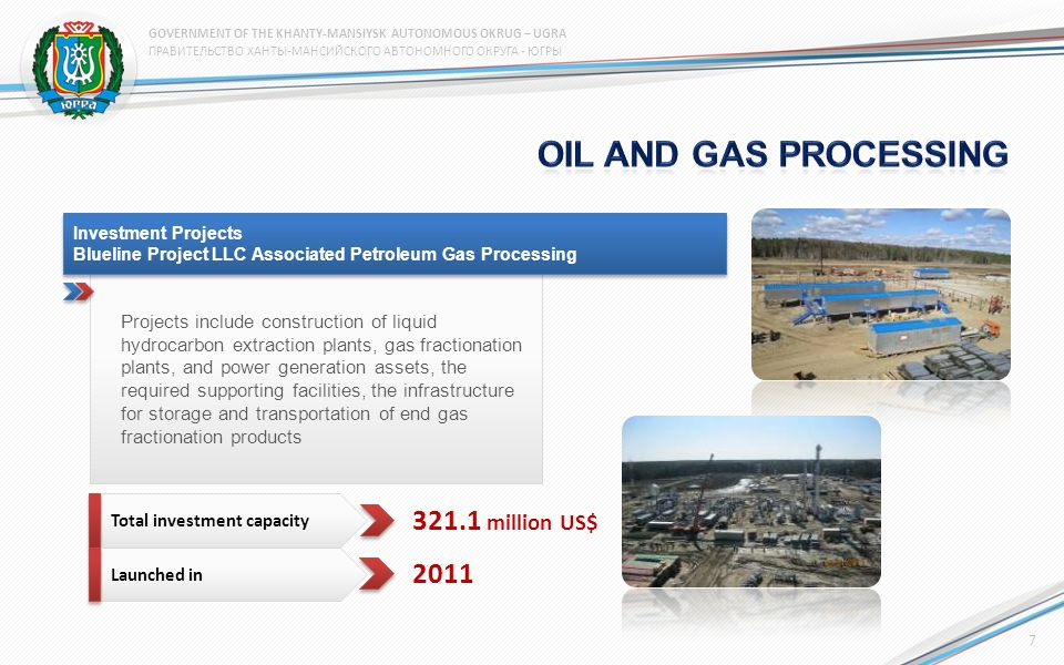 Projects include construction of liquid hydrocarbon extraction plants, gas fractionation plants, and power generation assets, the required supporting facilities, the infrastructure for storage and transportation of end gas fractionation products Investment Projects Blueline Project LLC Associated Petroleum Gas Processing Investment Projects Blueline Project LLC Associated Petroleum Gas Processing Total investment capacity Launched in million US$ ПРАВИТЕЛЬСТВО ХАНТЫ-МАНСИЙСКОГО АВТОНОМНОГО ОКРУГА - ЮГРЫ GOVERNMENT OF THE KHANTY-MANSIYSK AUTONOMOUS OKRUG – UGRA