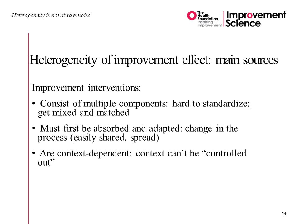 Heterogeneity of improvement effect: main sources Heterogeneity is not always noise 14 Improvement interventions: Consist of multiple components: hard to standardize; get mixed and matched Must first be absorbed and adapted: change in the process (easily shared, spread) Are context-dependent: context cant be controlled out