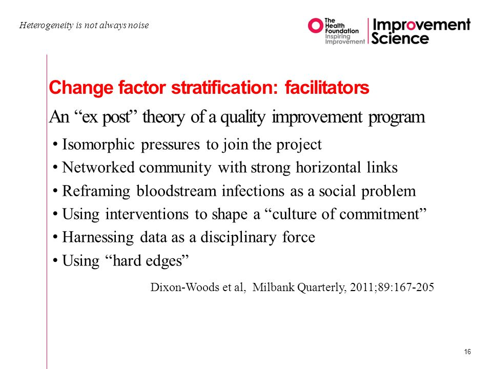 Change factor stratification: facilitators An ex post theory of a quality improvement program Heterogeneity is not always noise 16 Isomorphic pressures to join the project Networked community with strong horizontal links Reframing bloodstream infections as a social problem Using interventions to shape a culture of commitment Harnessing data as a disciplinary force Using hard edges Dixon-Woods et al, Milbank Quarterly, 2011;89:167-205