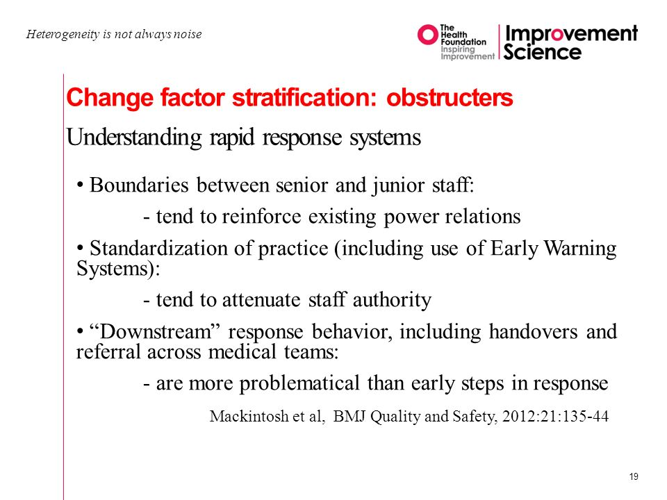 Change factor stratification: obstructers Understanding rapid response systems Heterogeneity is not always noise 19 Boundaries between senior and junior staff: - tend to reinforce existing power relations Standardization of practice (including use of Early Warning Systems): - tend to attenuate staff authority Downstream response behavior, including handovers and referral across medical teams: - are more problematical than early steps in response Mackintosh et al, BMJ Quality and Safety, 2012:21:135-44