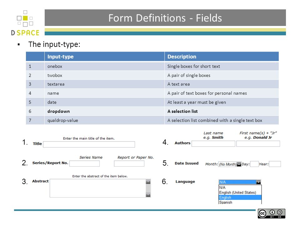 Form Definitions - Fields The input-type: Input-typeDescription 1oneboxSingle boxes for short text 2twoboxA pair of single boxes 3textareaA text area 4nameA pair of text boxes for personal names 5dateAt least a year must be given 6dropdownA selection list 7qualdrop-valueA selection list combined with a single text box 1.