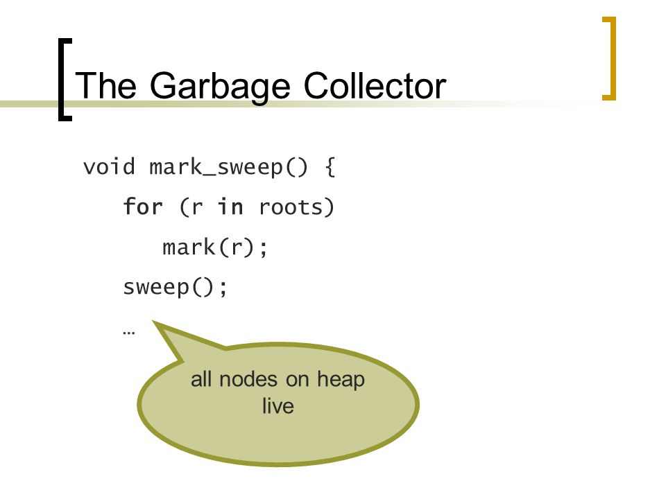 The Garbage Collector void mark_sweep() { for (r in roots) mark(r); sweep(); … all nodes on heap live