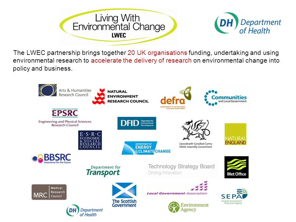 The LWEC partnership brings together 20 UK organisations funding, undertaking and using environmental research to accelerate the delivery of research on environmental change into policy and business.