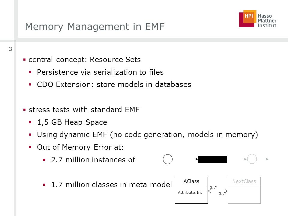 3 Memory Management in EMF central concept: Resource Sets Persistence via serialization to files CDO Extension: store models in databases stress tests with standard EMF 1,5 GB Heap Space Using dynamic EMF (no code generation, models in memory) Out of Memory Error at: 2.7 million instances of 1.7 million classes in meta model AClassNextClass 0..* Attribute:Int