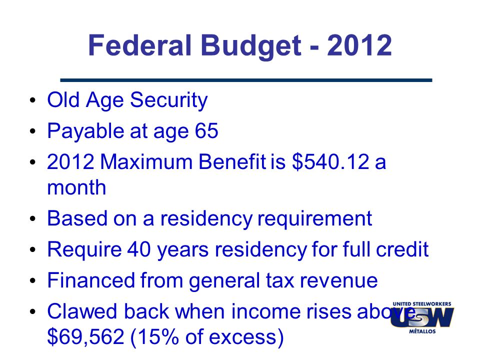 Federal Budget - 2012 Old Age Security Payable at age 65 2012 Maximum Benefit is $540.12 a month Based on a residency requirement Require 40 years residency for full credit Financed from general tax revenue Clawed back when income rises above $69,562 (15% of excess)