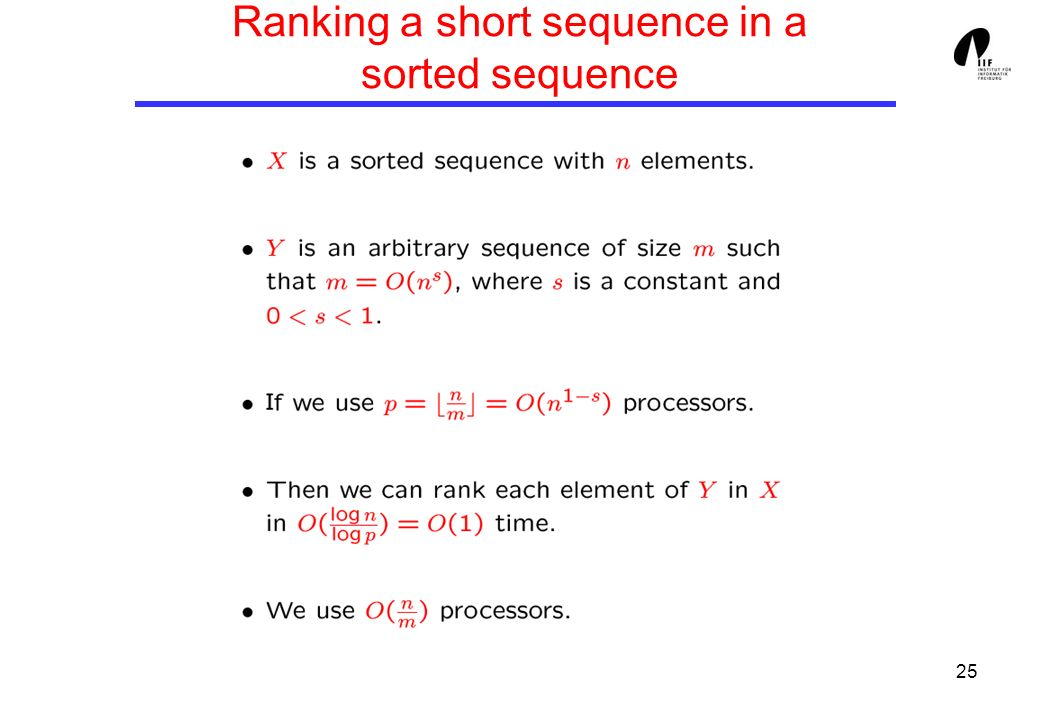 25 Ranking a short sequence in a sorted sequence