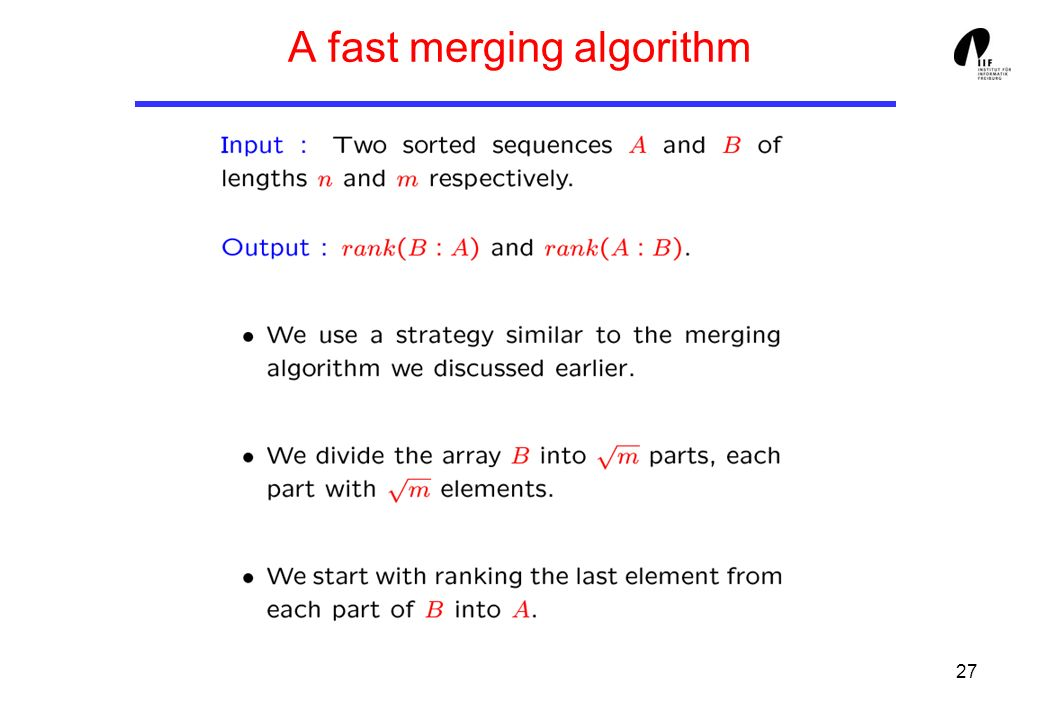 27 A fast merging algorithm