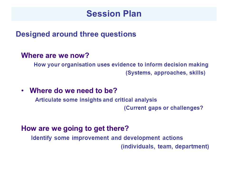 Session Plan Designed around three questions Where are we now.