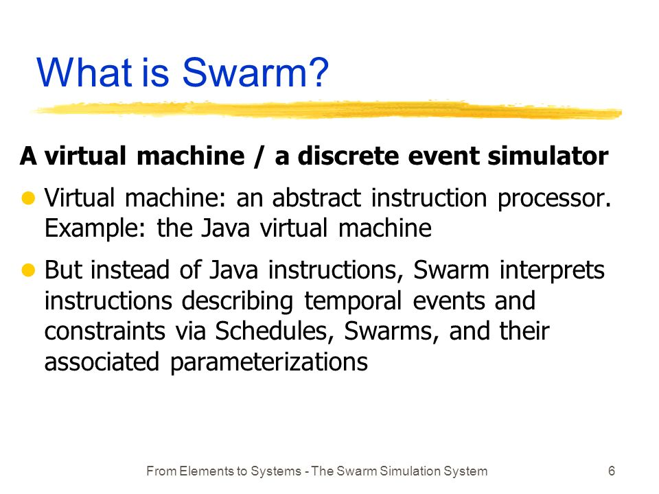 From Elements to Systems - The Swarm Simulation System6 What is Swarm.
