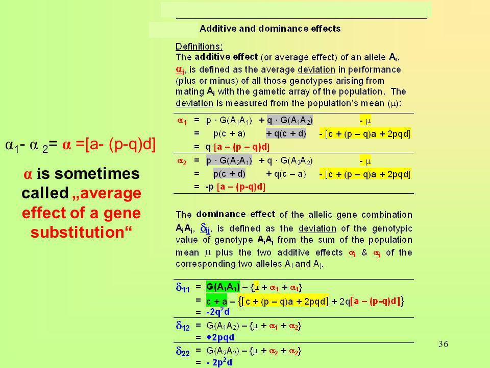 36 α 1 - α 2 = α =[a- (p-q)d] α i s sometimes called average effect of a gene substitution