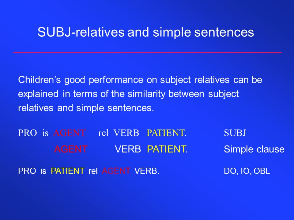 SUBJ-relatives and simple sentences PRO is AGENT rel VERB PATIENT.SUBJ AGENT VERB PATIENT.Simple clause Childrens good performance on subject relatives can be explained in terms of the similarity between subject relatives and simple sentences.