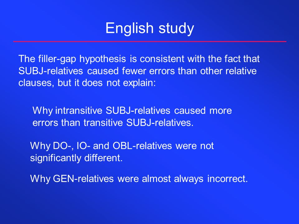 English study The filler-gap hypothesis is consistent with the fact that SUBJ-relatives caused fewer errors than other relative clauses, but it does not explain: Why GEN-relatives were almost always incorrect.