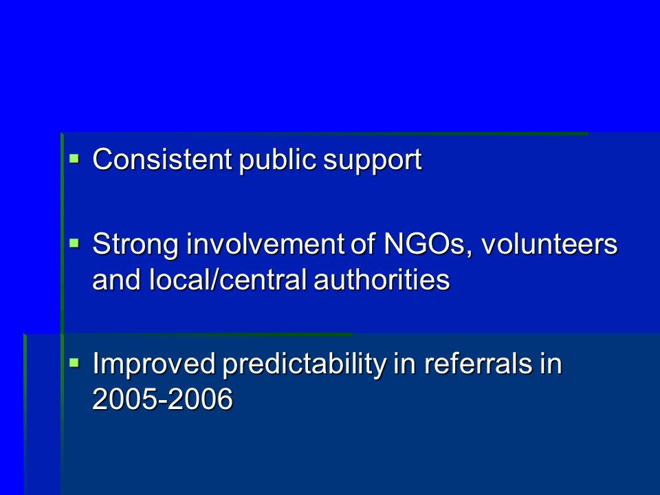 Consistent public support Consistent public support Strong involvement of NGOs, volunteers and local/central authorities Strong involvement of NGOs, volunteers and local/central authorities Improved predictability in referrals in Improved predictability in referrals in