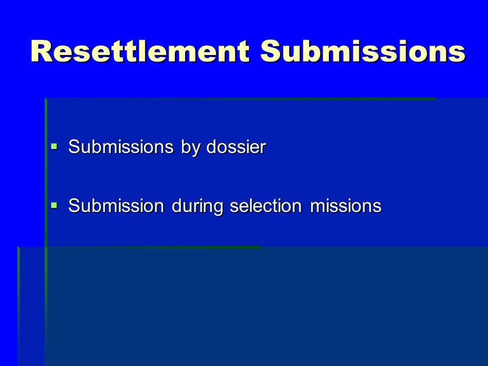Resettlement Submissions Submissions by dossier Submissions by dossier Submission during selection missions Submission during selection missions