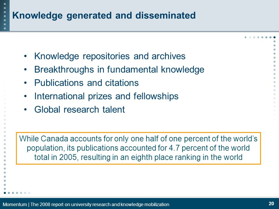 Momentum | The 2008 report on university research and knowledge mobilization 20 Knowledge generated and disseminated Knowledge repositories and archives Breakthroughs in fundamental knowledge Publications and citations International prizes and fellowships Global research talent While Canada accounts for only one half of one percent of the worlds population, its publications accounted for 4.7 percent of the world total in 2005, resulting in an eighth place ranking in the world