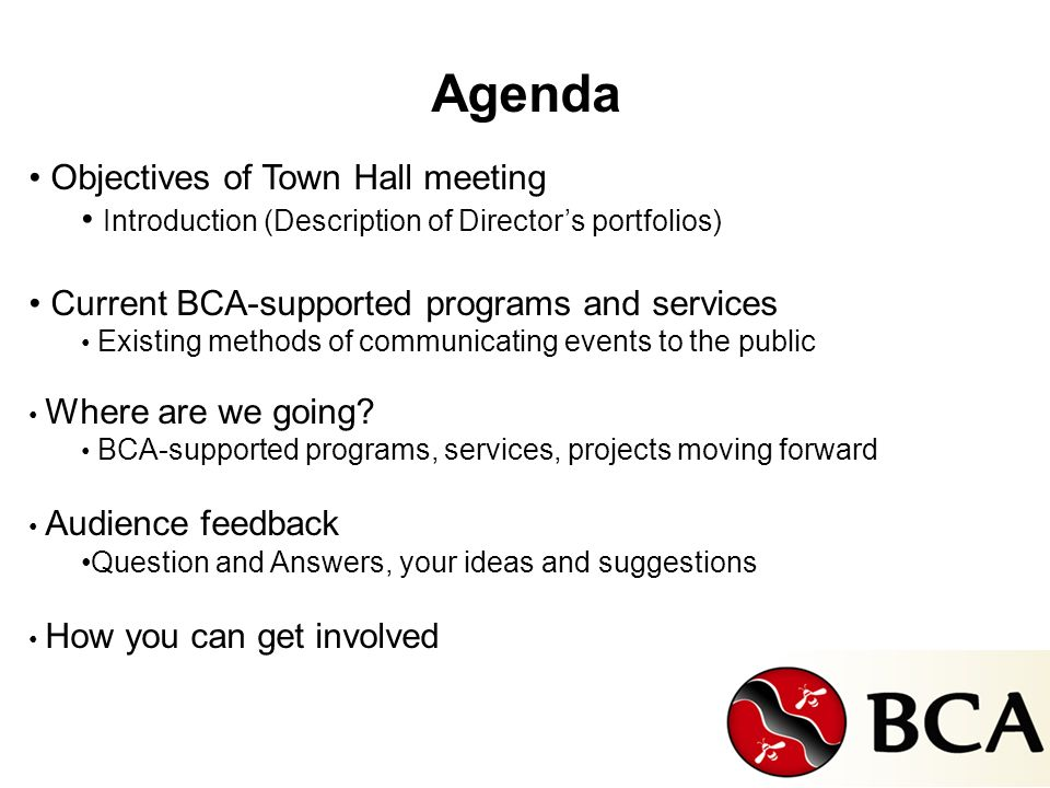 Agenda Objectives of Town Hall meeting Introduction (Description of Directors portfolios) Current BCA-supported programs and services Existing methods of communicating events to the public Where are we going.