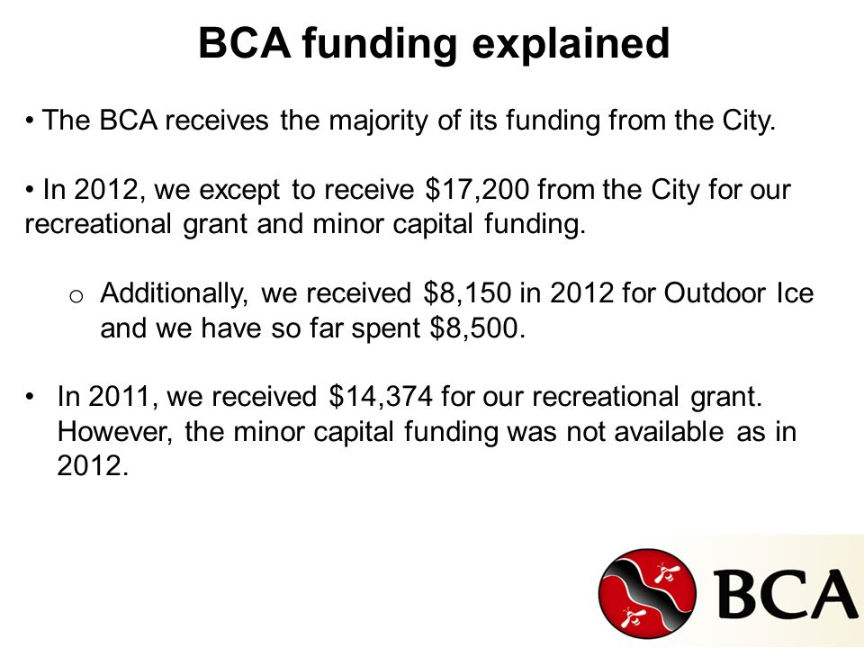BCA funding explained The BCA receives the majority of its funding from the City.