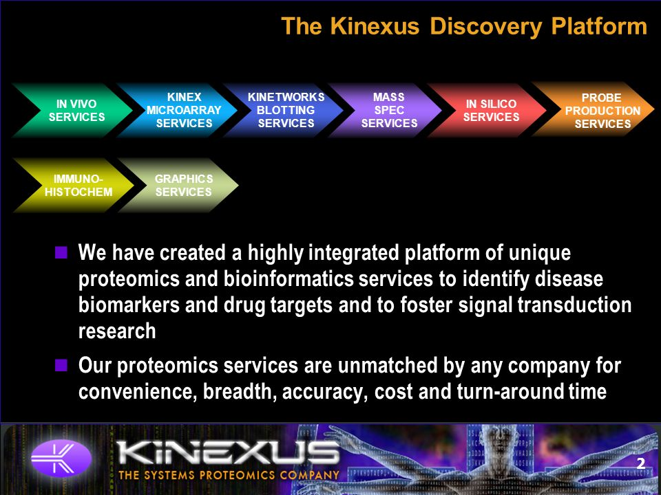 2 The Kinexus Discovery Platform MASS SPEC SERVICES IN VIVO SERVICES KINETWORKS BLOTTING SERVICES KINEX MICROARRAY SERVICES IN SILICO SERVICES PROBE PRODUCTION SERVICES IMMUNO- HISTOCHEM GRAPHICS SERVICES We have created a highly integrated platform of unique proteomics and bioinformatics services to identify disease biomarkers and drug targets and to foster signal transduction research Our proteomics services are unmatched by any company for convenience, breadth, accuracy, cost and turn-around time