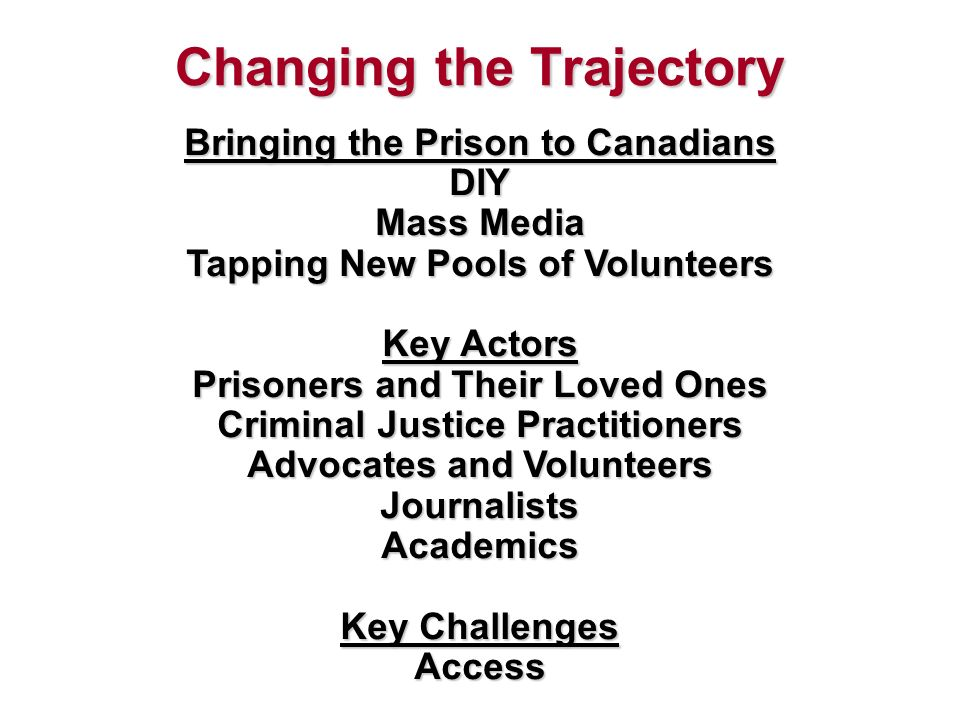 Changing the Trajectory Bringing the Prison to Canadians DIY Mass Media Tapping New Pools of Volunteers Key Actors Prisoners and Their Loved Ones Criminal Justice Practitioners Advocates and Volunteers Journalists Academics Key Challenges Access