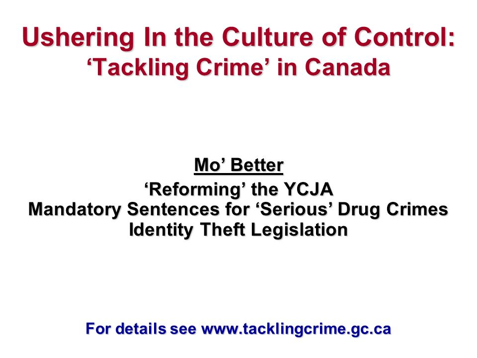 Ushering In the Culture of Control: Tackling Crime in Canada Mo Better Reforming the YCJA Mandatory Sentences for Serious Drug Crimes Identity Theft Legislation For details see