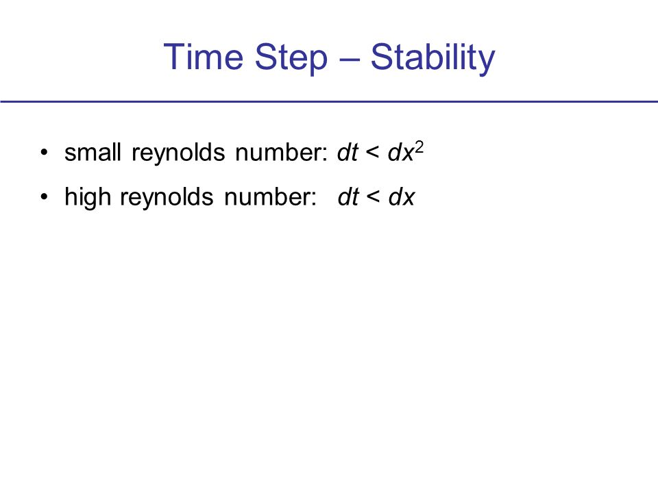 Time Step – Stability small reynolds number: dt < dx 2 high reynolds number: dt < dx