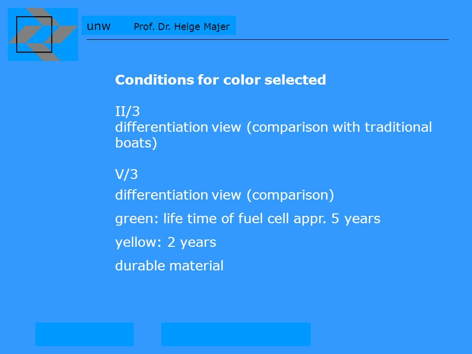 Conditions for color selected II/3 differentiation view (comparison with traditional boats) V/3 differentiation view (comparison) green: life time of fuel cell appr.