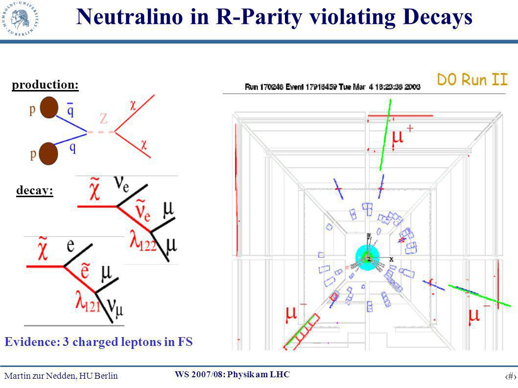Martin zur Nedden, HU Berlin 25 WS 2007/08: Physik am LHC Neutralino in R-Parity violating Decays production: decay: Evidence: 3 charged leptons in FS