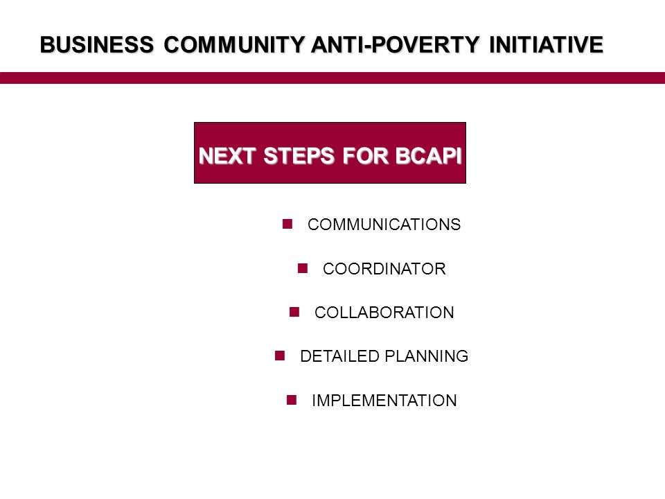 BUSINESS COMMUNITY ANTI-POVERTY INITIATIVE NEXT STEPS FOR BCAPI COMMUNICATIONS COORDINATOR COLLABORATION DETAILED PLANNING IMPLEMENTATION