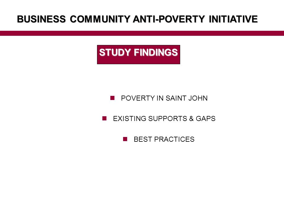 BUSINESS COMMUNITY ANTI-POVERTY INITIATIVE STUDY FINDINGS POVERTY IN SAINT JOHN EXISTING SUPPORTS & GAPS BEST PRACTICES