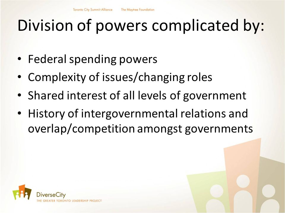 Division of powers complicated by: Federal spending powers Complexity of issues/changing roles Shared interest of all levels of government History of intergovernmental relations and overlap/competition amongst governments
