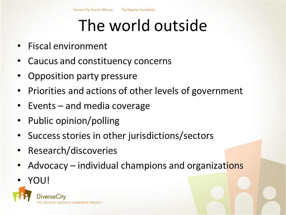 The world outside Fiscal environment Caucus and constituency concerns Opposition party pressure Priorities and actions of other levels of government Events – and media coverage Public opinion/polling Success stories in other jurisdictions/sectors Research/discoveries Advocacy – individual champions and organizations YOU!