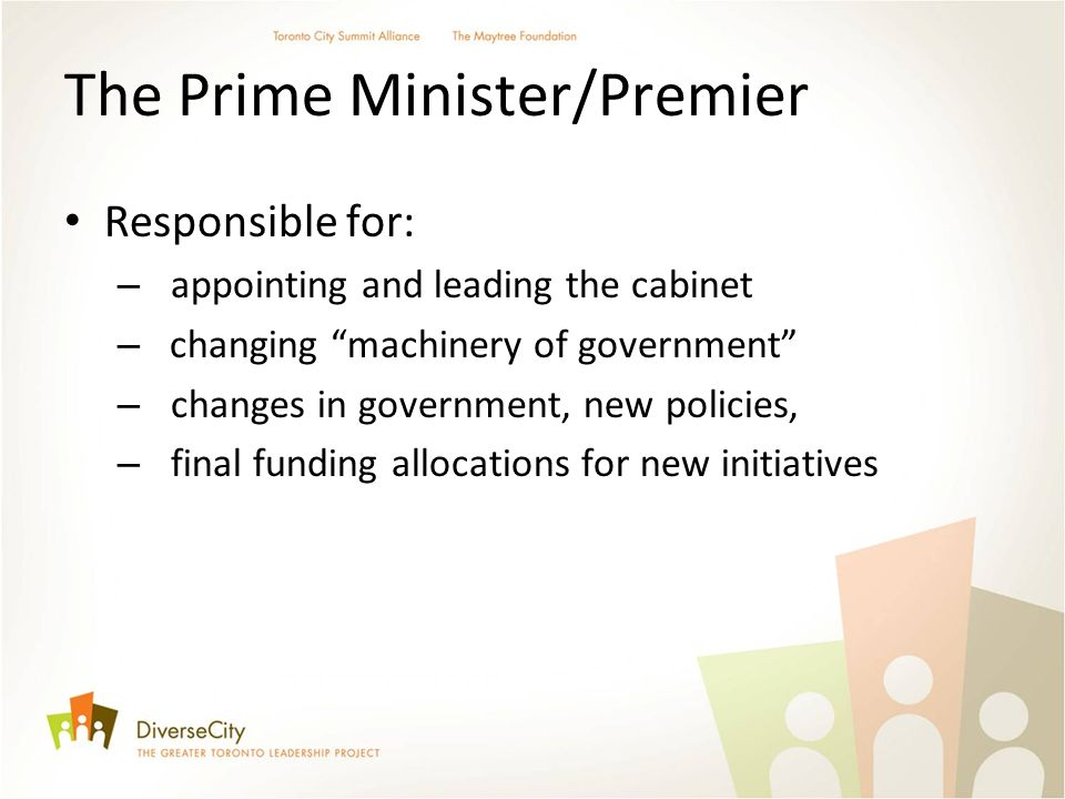The Prime Minister/Premier Responsible for: – appointing and leading the cabinet – changing machinery of government – changes in government, new policies, – final funding allocations for new initiatives