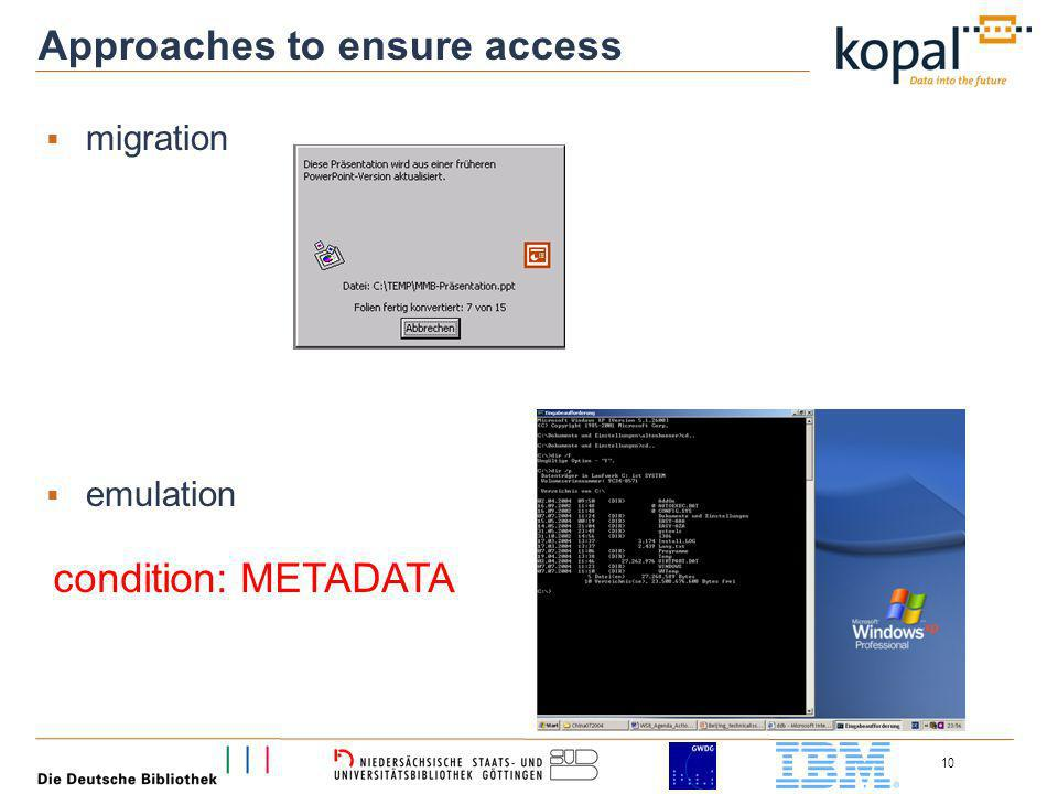 10 Approaches to ensure access migration emulation condition: METADATA