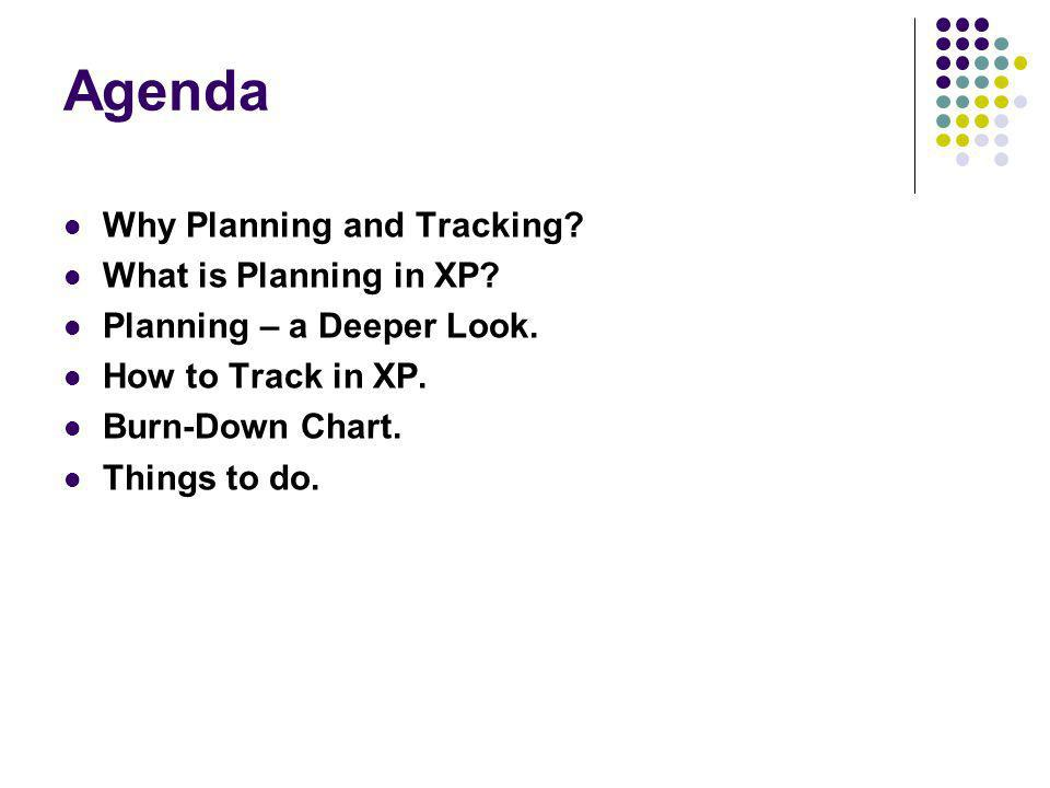 Agenda Why Planning and Tracking. What is Planning in XP.