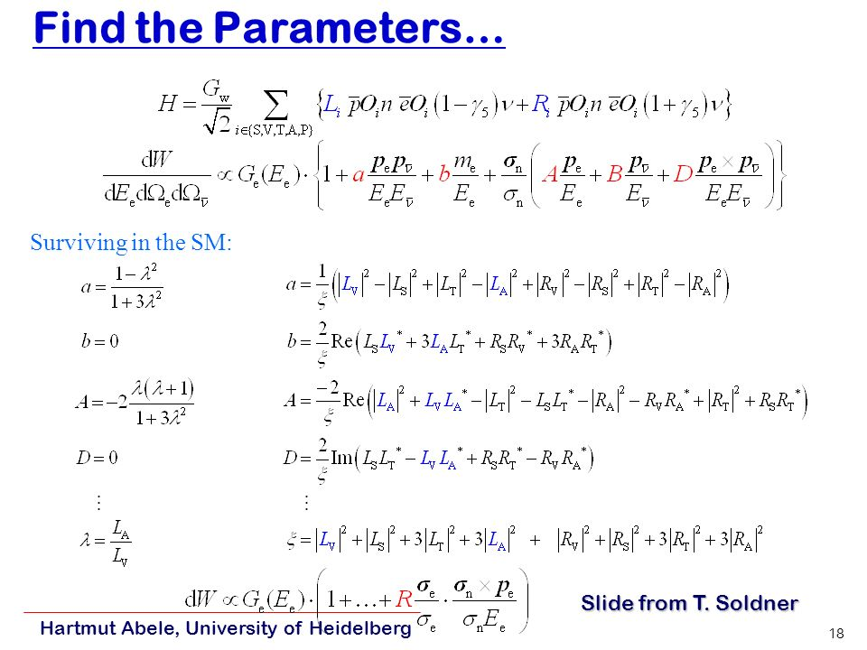 Hartmut Abele, University of Heidelberg 18 Find the Parameters… J.D.
