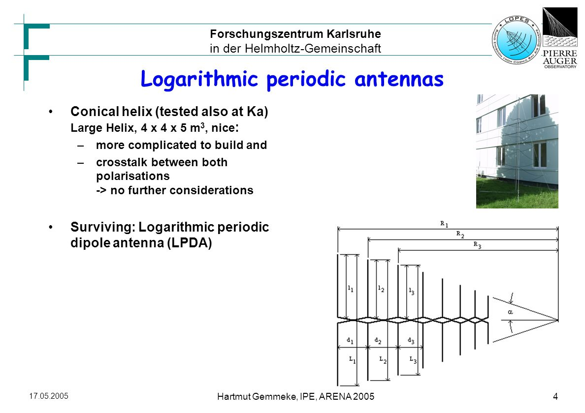 Forschungszentrum Karlsruhe in der Helmholtz-Gemeinschaft Hartmut Gemmeke, IPE, ARENA Logarithmic periodic antennas Conical helix (tested also at Ka) Large Helix, 4 x 4 x 5 m 3, nice : –more complicated to build and –crosstalk between both polarisations -> no further considerations Surviving: Logarithmic periodic dipole antenna (LPDA)