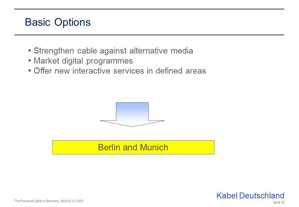 Kabel Deutschland The Future of Cable in Germany, Köln 03.11.2003 Seite 17 What are our basic options to master the challenges.