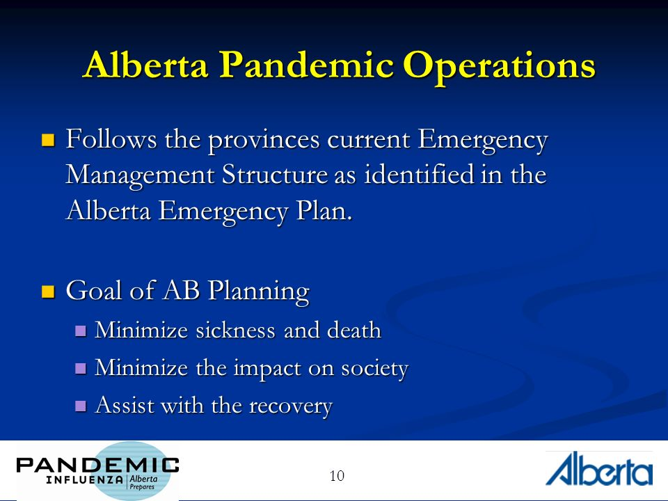 10 Alberta Pandemic Operations Follows the provinces current Emergency Management Structure as identified in the Alberta Emergency Plan.