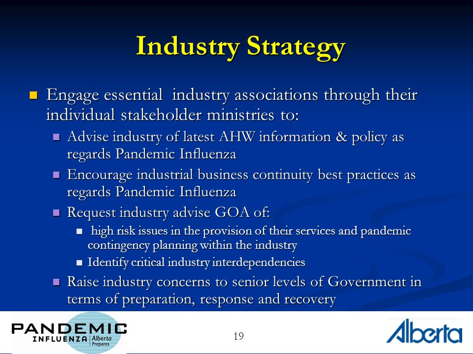 19 Industry Strategy Engage essential industry associations through their individual stakeholder ministries to: Engage essential industry associations through their individual stakeholder ministries to: Advise industry of latest AHW information & policy as regards Pandemic Influenza Advise industry of latest AHW information & policy as regards Pandemic Influenza Encourage industrial business continuity best practices as regards Pandemic Influenza Encourage industrial business continuity best practices as regards Pandemic Influenza Request industry advise GOA of: Request industry advise GOA of: high risk issues in the provision of their services and pandemic contingency planning within the industry high risk issues in the provision of their services and pandemic contingency planning within the industry Identify critical industry interdependencies Identify critical industry interdependencies Raise industry concerns to senior levels of Government in terms of preparation, response and recovery Raise industry concerns to senior levels of Government in terms of preparation, response and recovery