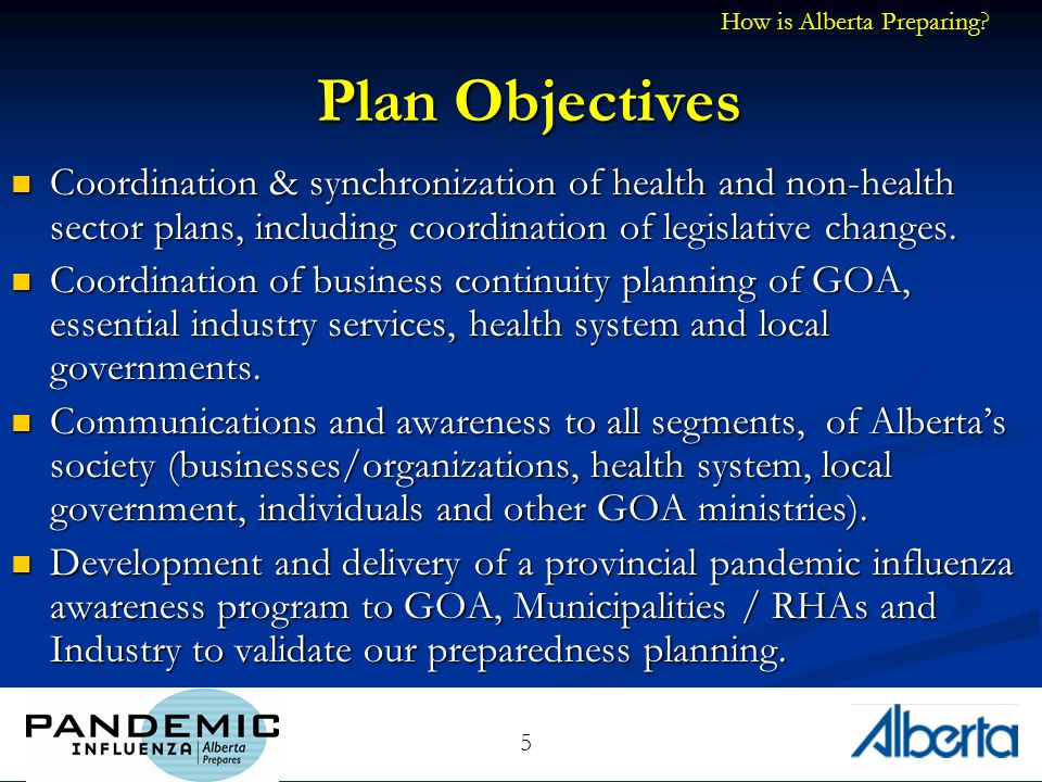 5 Plan Objectives Coordination & synchronization of health and non-health sector plans, including coordination of legislative changes.