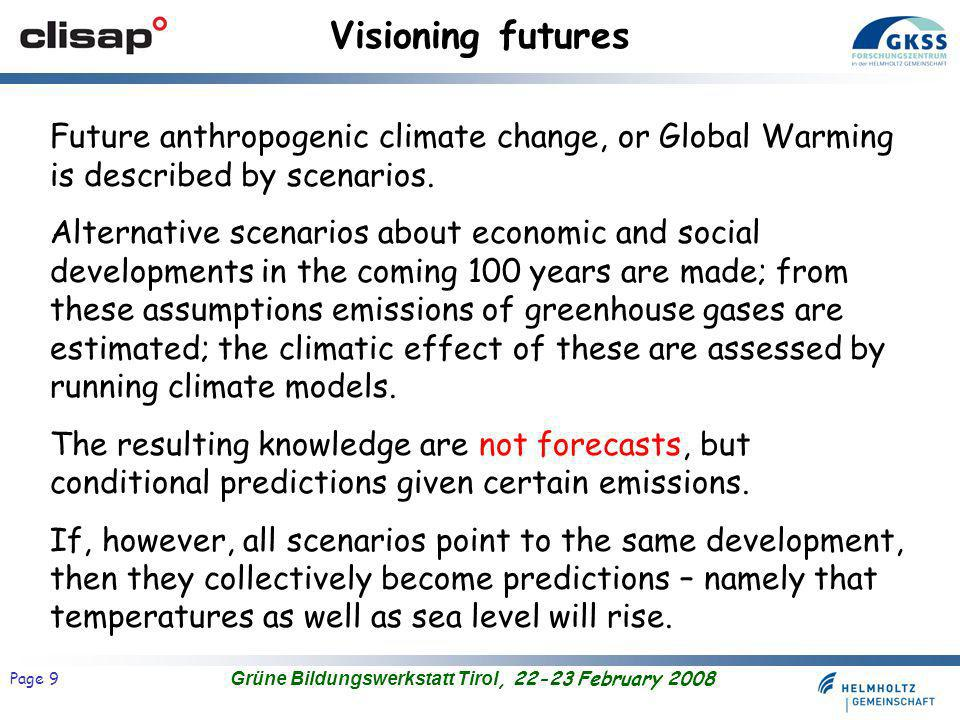 Grüne Bildungswerkstatt Tirol, 22-23 February 2008 Page 9 Visioning futures Future anthropogenic climate change, or Global Warming is described by scenarios.