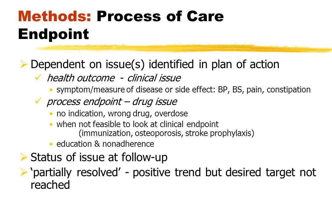 Methods: Process of Care Endpoint Dependent on issue(s) identified in plan of action health outcome - clinical issue symptom/measure of disease or side effect: BP, BS, pain, constipation process endpoint – drug issue no indication, wrong drug, overdose when not feasible to look at clinical endpoint (immunization, osteoporosis, stroke prophylaxis) education & nonadherence Status of issue at follow-up partially resolved - positive trend but desired target not reached