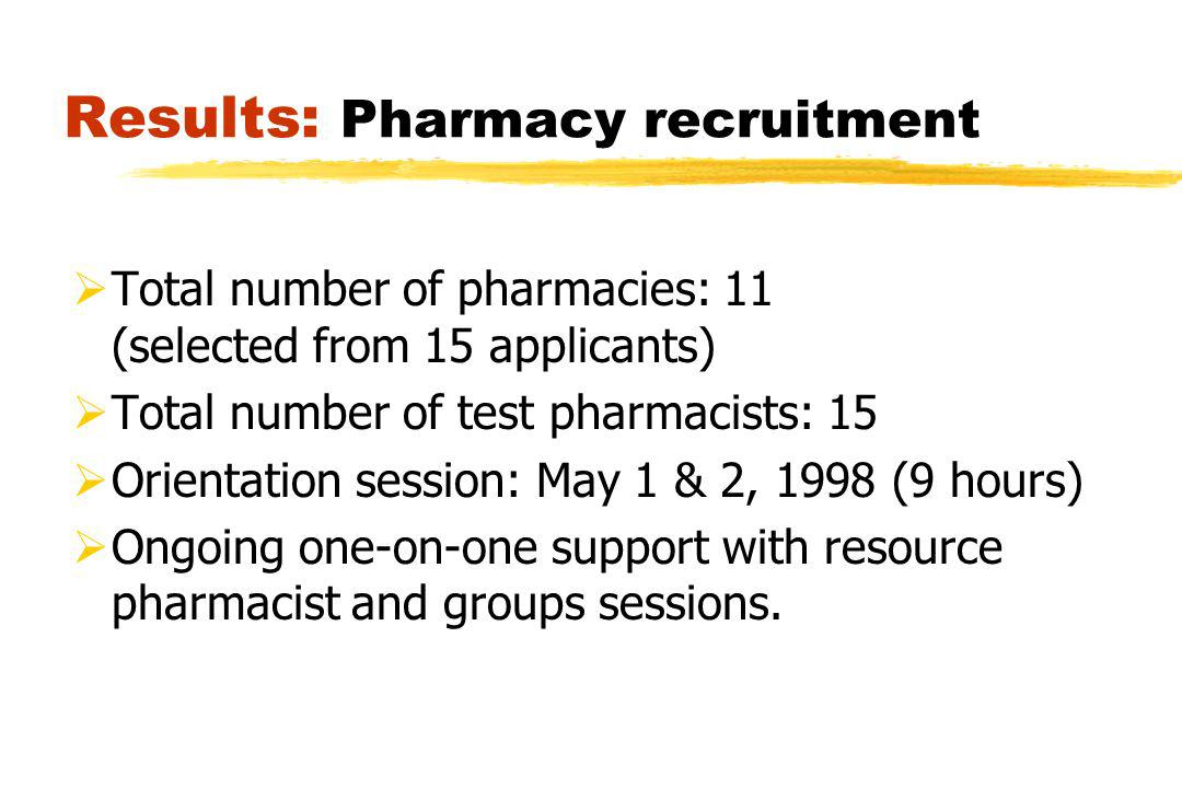 Results: Pharmacy recruitment Total number of pharmacies: 11 (selected from 15 applicants) Total number of test pharmacists: 15 Orientation session: May 1 & 2, 1998 (9 hours) Ongoing one-on-one support with resource pharmacist and groups sessions.