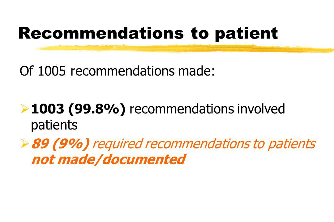Recommendations to patient Of 1005 recommendations made: 1003 (99.8%) recommendations involved patients 89 (9%) required recommendations to patients not made/documented