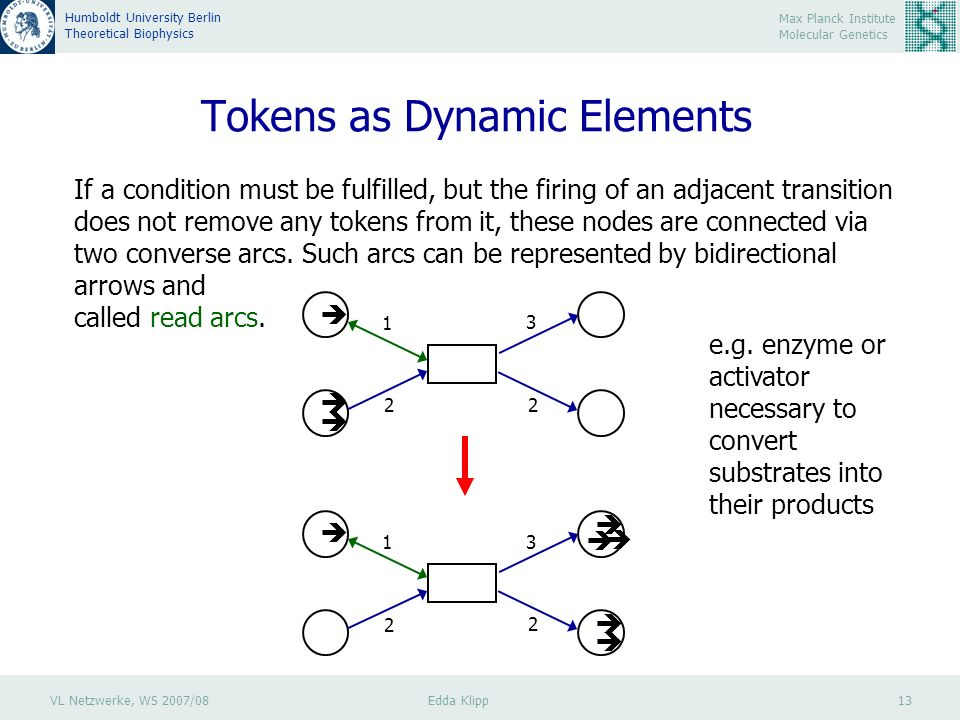 VL Netzwerke, WS 2007/08 Edda Klipp 13 Max Planck Institute Molecular Genetics Humboldt University Berlin Theoretical Biophysics Tokens as Dynamic Elements If a condition must be fulfilled, but the firing of an adjacent transition does not remove any tokens from it, these nodes are connected via two converse arcs.