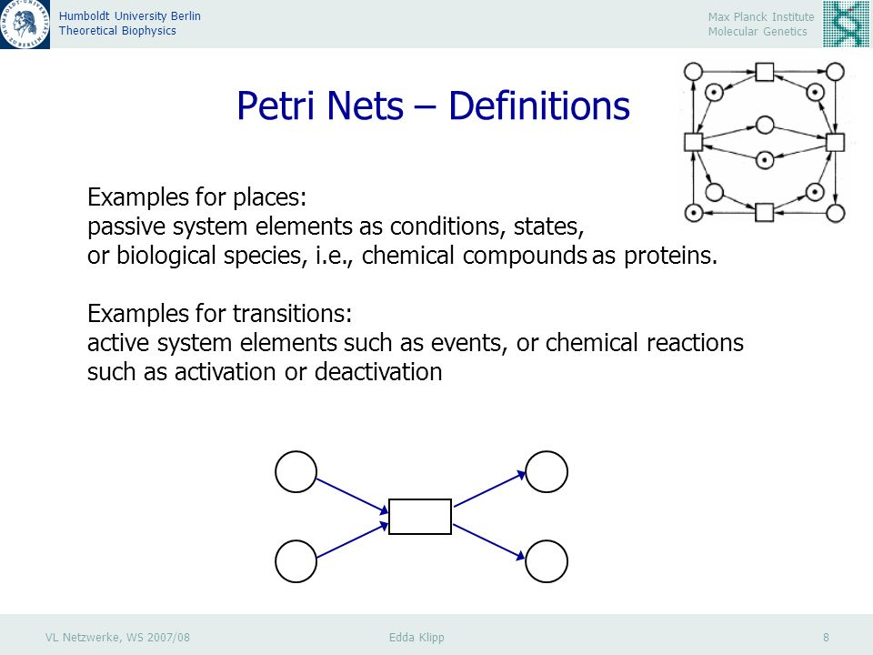 VL Netzwerke, WS 2007/08 Edda Klipp 8 Max Planck Institute Molecular Genetics Humboldt University Berlin Theoretical Biophysics Petri Nets – Definitions Examples for places: passive system elements as conditions, states, or biological species, i.e., chemical compounds as proteins.
