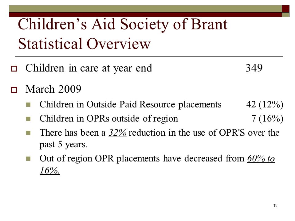 18 Childrens Aid Society of Brant Statistical Overview Children in care at year end 349 March 2009 Children in Outside Paid Resource placements 42 (12%) Children in OPRs outside of region 7 (16%) There has been a 32% reduction in the use of OPR S over the past 5 years.