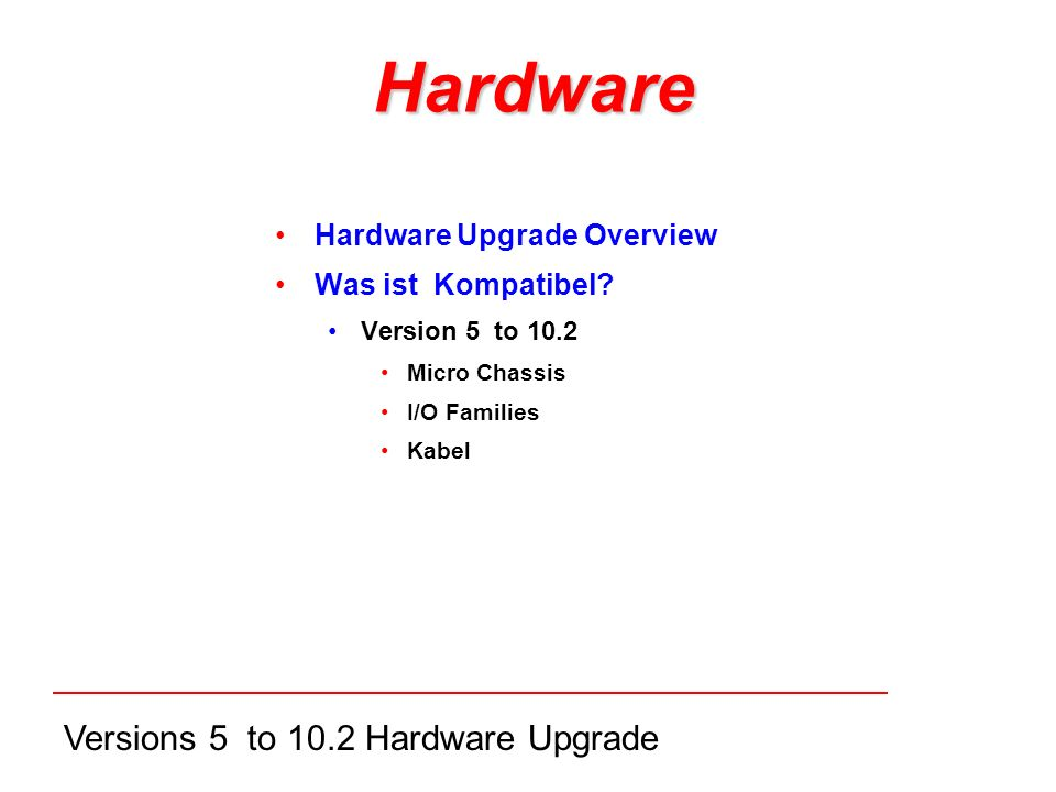 Versions 5 to 10.2 Hardware Upgrade Hardware Hardware Upgrade Overview Was ist Kompatibel.