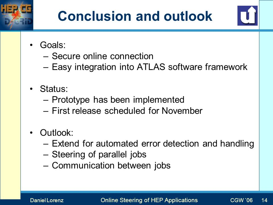 Max Mustermann Vortragstitel Veranstaltung Conclusion and outlook Goals: –Secure online connection –Easy integration into ATLAS software framework Status: –Prototype has been implemented –First release scheduled for November Outlook: –Extend for automated error detection and handling –Steering of parallel jobs –Communication between jobs Daniel Lorenz Online Steering of HEP Applications CGW `0614